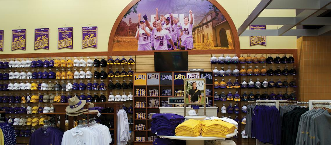 photo: LSU apparel in the LSU bookstore