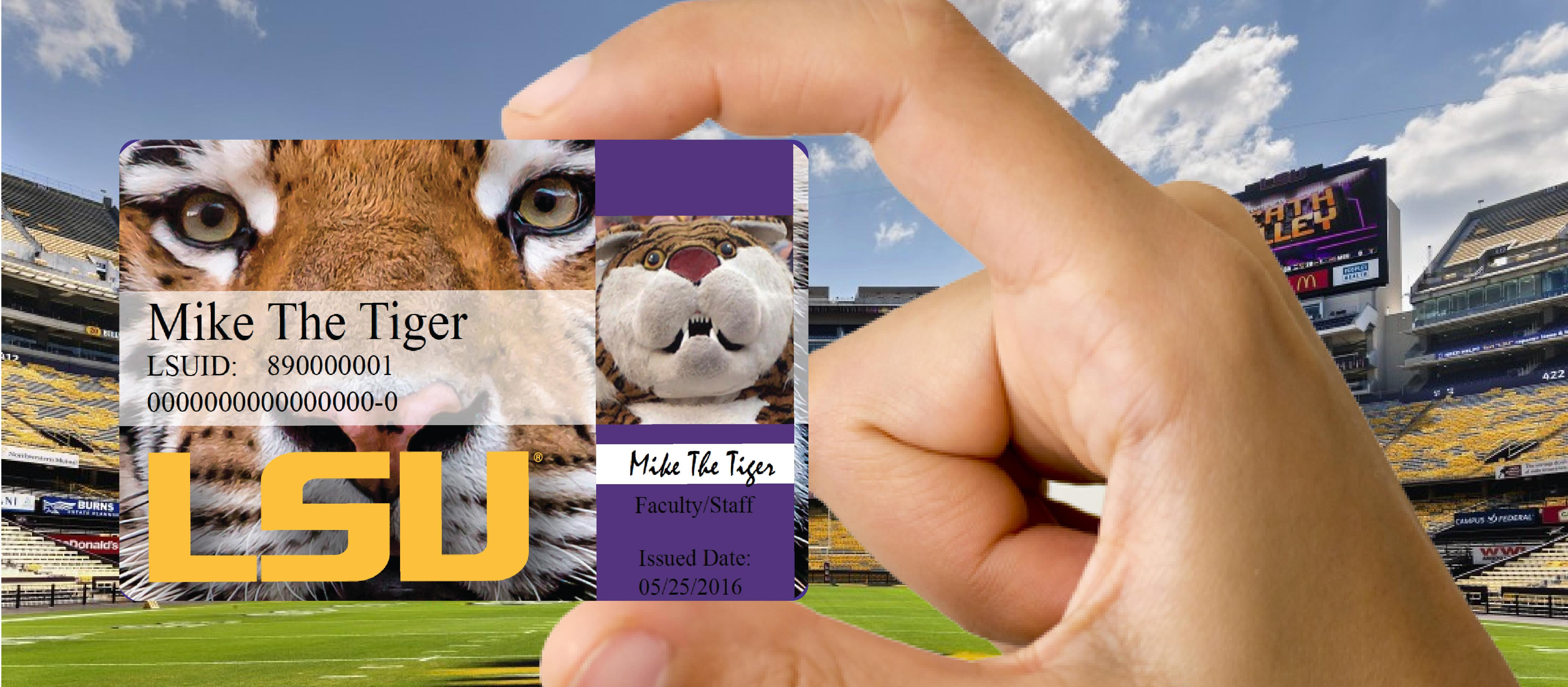 photo: student holding tigercard in Tiger Stadium